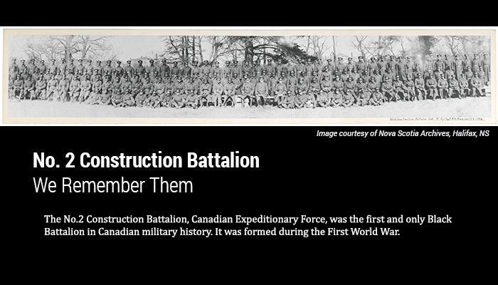 No. 2 Construction Battalion, Canadian Expeditionary Force, was the first and only Black Battalion in Canadian military history. It was formed during the First World War.